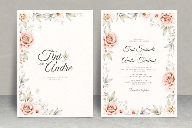 Elegant wedding invitation card theme with floral frame watercolor
