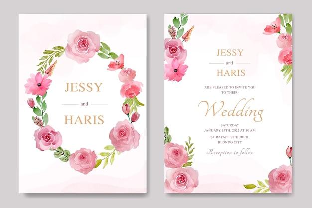 Элегантная тема свадебного приглашения с цветочной акварелью