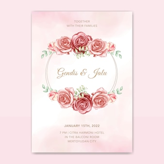 Elegant wedding invitation card vector template with beautiful floral