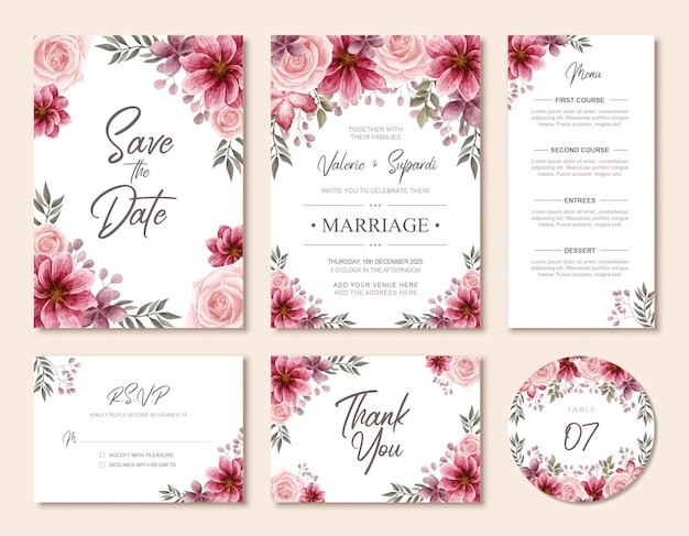 Elegant wedding invitation card watercolor floral