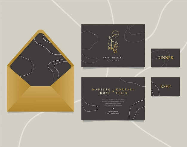Elegant wedding invitation card with abstract line art and golden logo