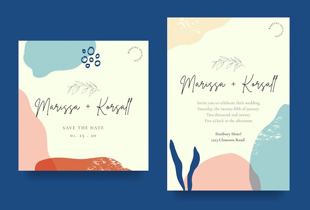 Elegant wedding invitation card with abstract shapes