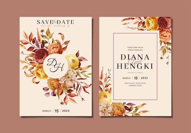 Elegant wedding invitation card with autumn nature