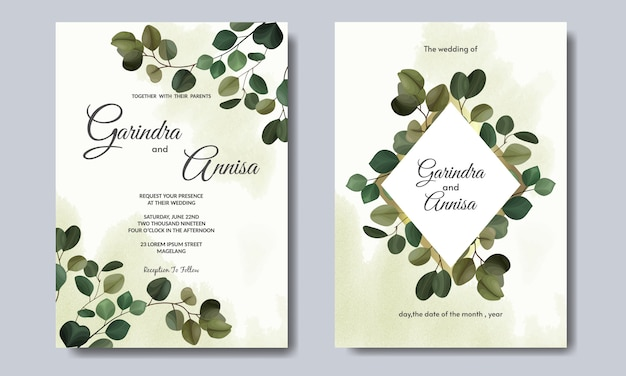 Elegant wedding invitation card with beautiful eucalyptus leaves template premium vector