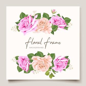 Элегантная свадебная пригласительная открытка с красивым цветочным узором и листьями
