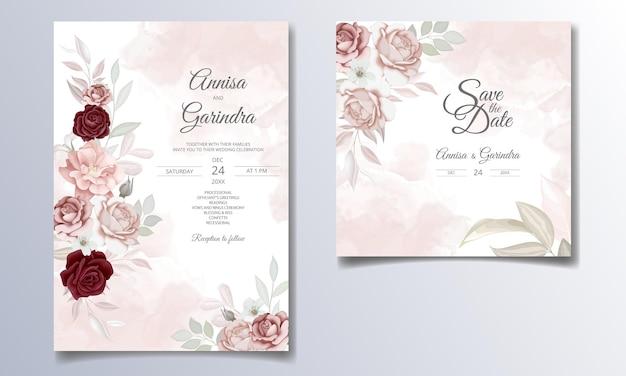 아름다운 꽃과 잎 템플릿 우아한 결혼식 초대 카드