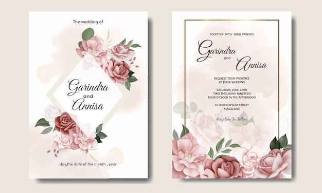 Элегантный свадебный пригласительный билет с красивым цветочным шаблоном и листьями