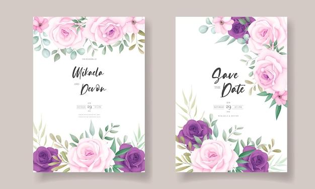 美しい花の装飾が施されたエレガントな結婚式の招待カード