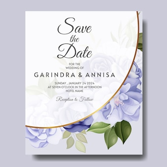 Elegant wedding invitation card with beautiful floral and leaves template