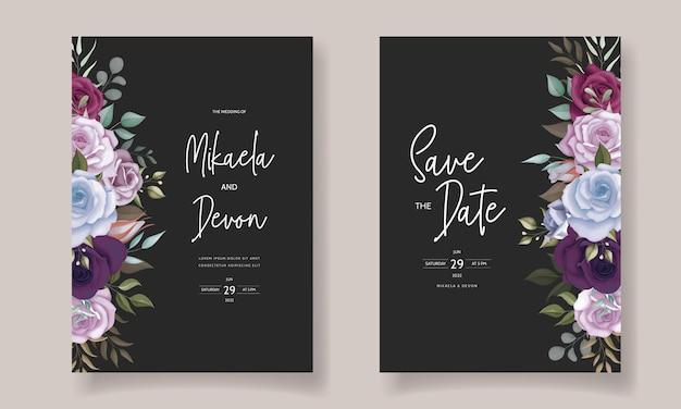 Elegant wedding invitation card with beautiful floral ornament