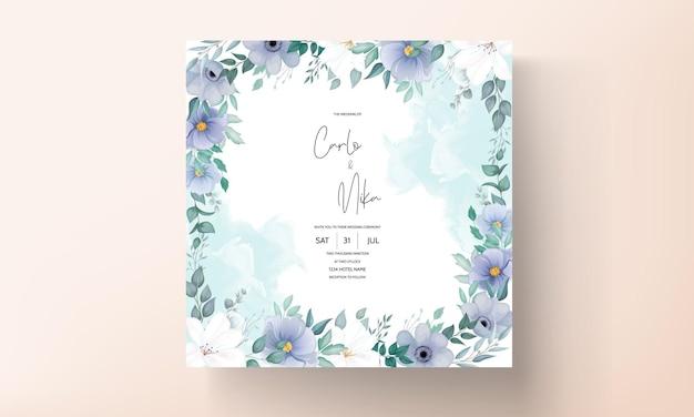 아름다운 꽃 장식으로 우아한 결혼식 초대 카드