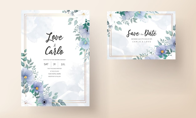 Elegant wedding invitation card with beautiful floral ornaments