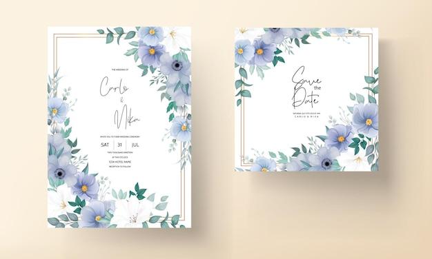 Элегантный свадебный пригласительный билет с красивым цветочным орнаментом