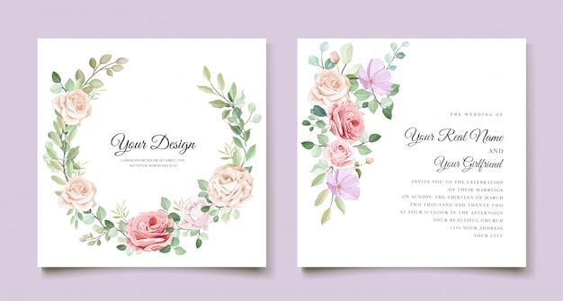 Elegant wedding invitation card with beautiful floral