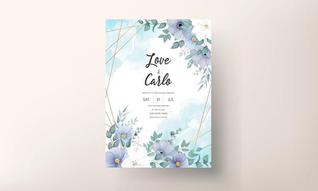 Элегантный свадебный пригласительный билет с красивыми цветочными украшениями