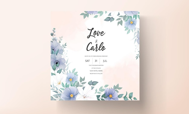 Elegant wedding invitation card with beautiful flower decorations