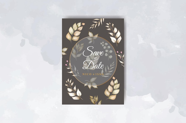 美しい花と葉の水彩画とエレガントな結婚式の招待カード