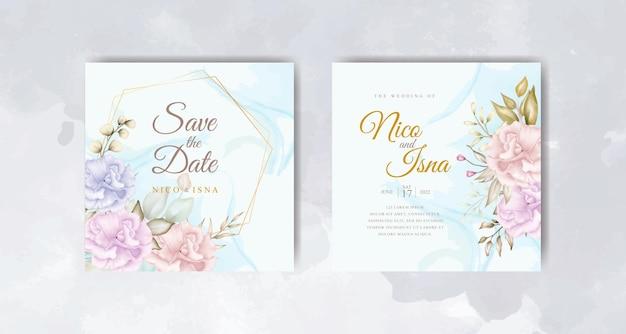 美しい花の水彩画とエレガントな結婚式の招待カード