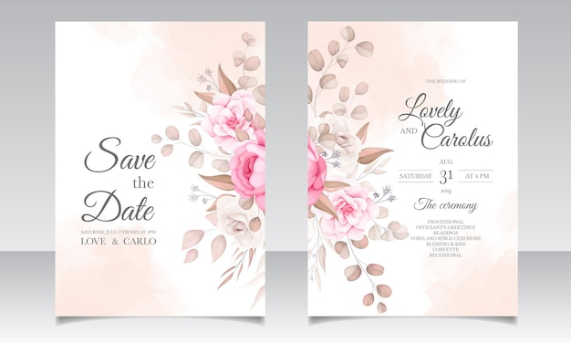Элегантный свадебный пригласительный билет с красивыми цветами