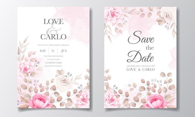 Elegant wedding invitation card with beautiful flowers