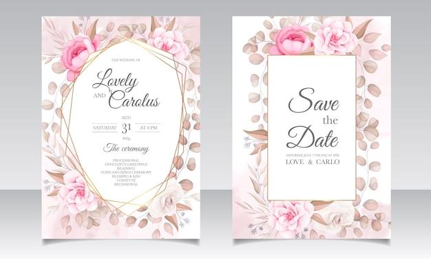 美しい花とエレガントな結婚式の招待カード