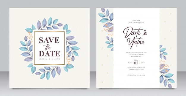 Elegant wedding invitation card with beautiful leaves aquarel