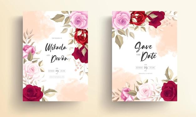 Elegant wedding invitation card with beautiful marroon roses