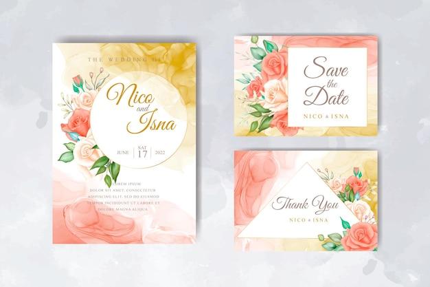 美しい赤いバラwatercoloとエレガントな結婚式の招待カード