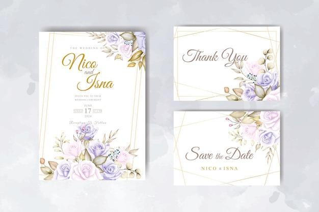 美しい柔らかい花の水彩画とエレガントな結婚式の招待カード