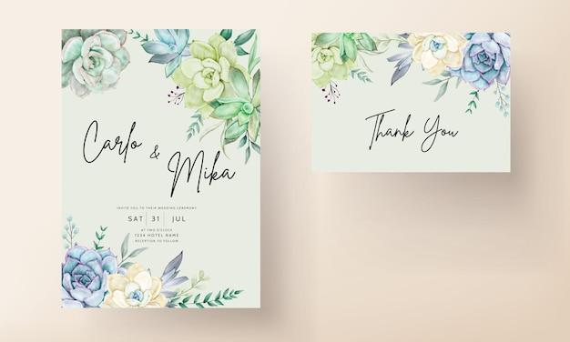 Элегантный свадебный пригласительный билет с красивой сочной цветочной акварелью