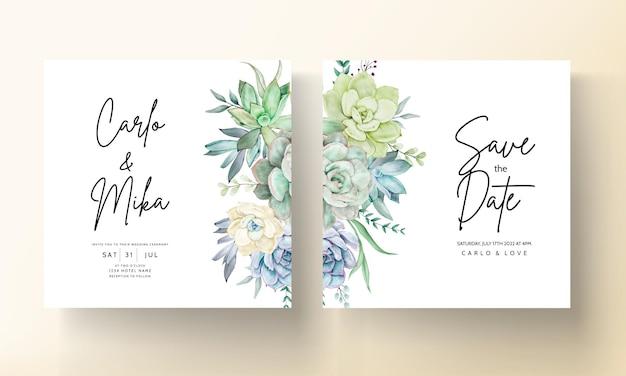 Elegant wedding invitation card with beautiful succulent flower watercolor
