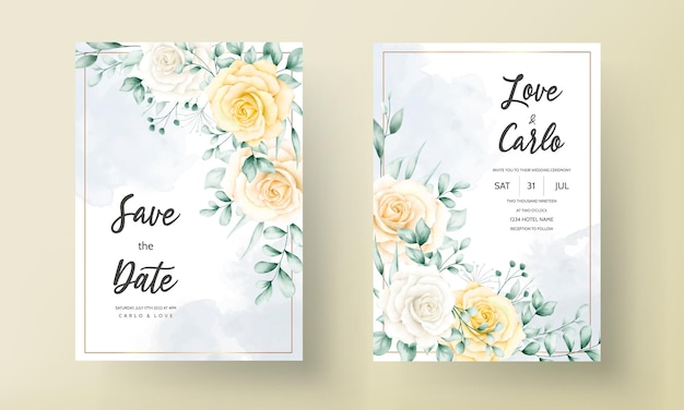 Elegant wedding invitation card with beautiful watercolor floral