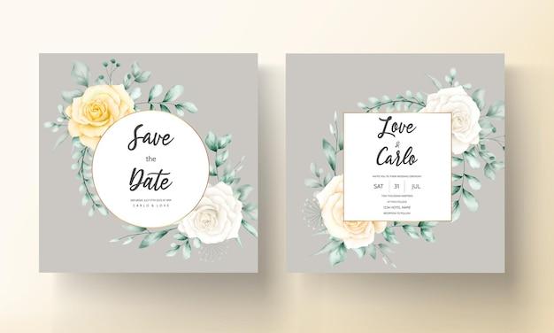 Elegante carta di invito a nozze con bellissimi fiori ad acquerello
