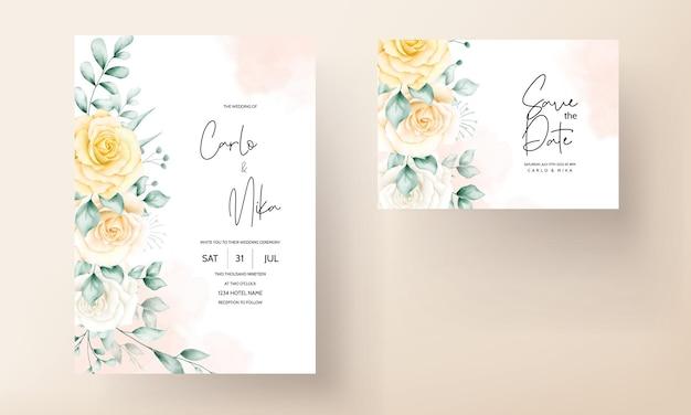 美しい水彩花柄のエレガントな結婚式の招待カード