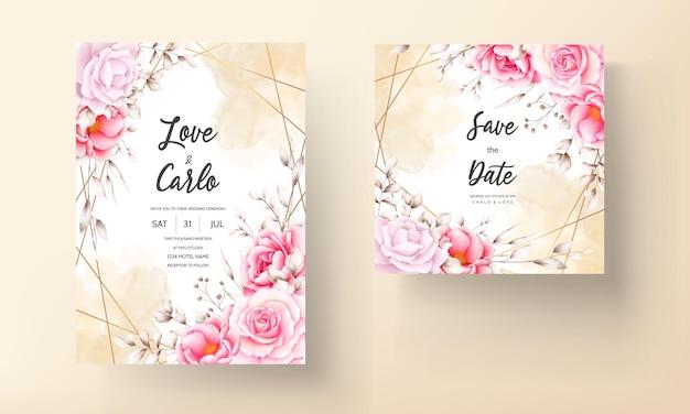 Элегантный свадебный пригласительный билет с красивым акварельным цветочным рисунком
