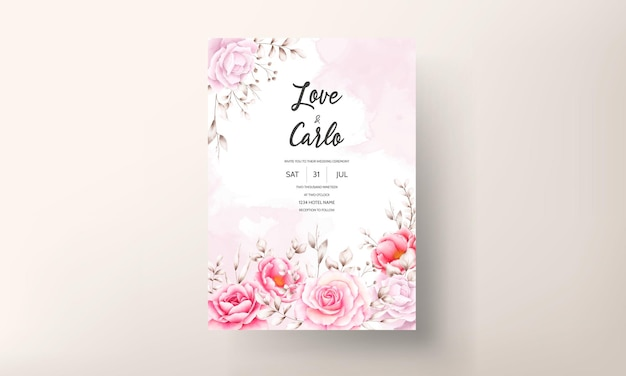 Elegante biglietto d'invito per matrimonio con bellissimi fiori ad acquerello