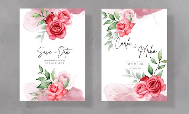 Элегантный свадебный пригласительный билет с красивым акварельным цветком