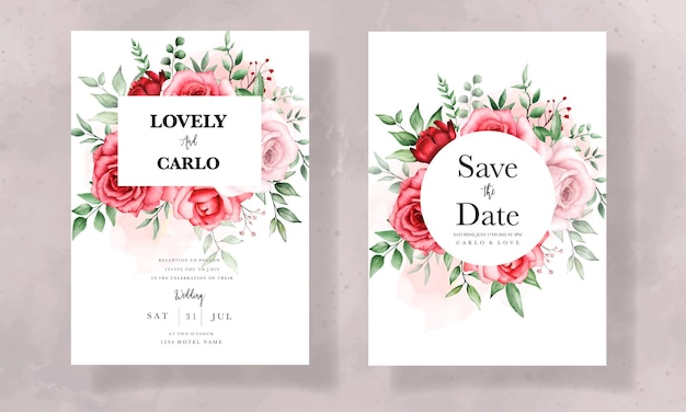 美しい水彩花とエレガントな結婚式の招待カード