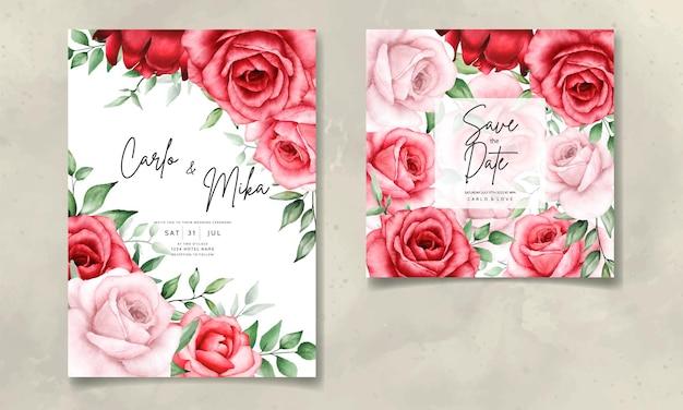 Elegant wedding invitation card with beautiful watercolor flower