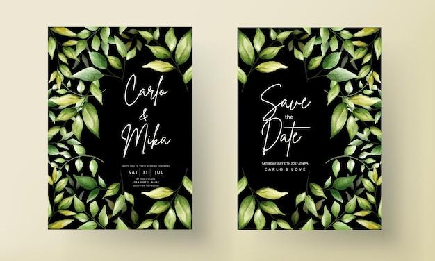 Elegant wedding invitation card with beautiful watercolor leaves