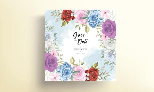 カラフルな花の装飾が施されたエレガントな結婚式の招待カード