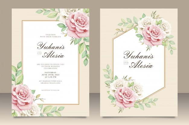Elegant wedding invitation card with floral bouquet