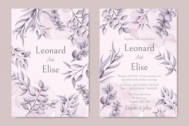 花のカバー付きのエレガントな結婚式の招待カード