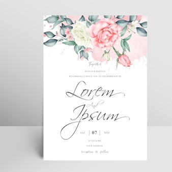 Elegant wedding invitation card with floral and watercolor splash
