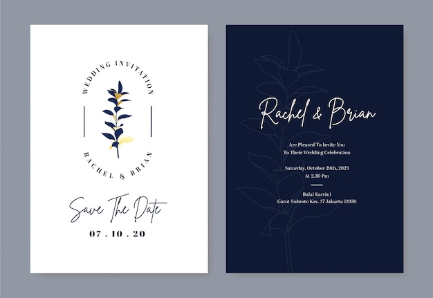 Elegant wedding invitation card with flower logo and royal blue color