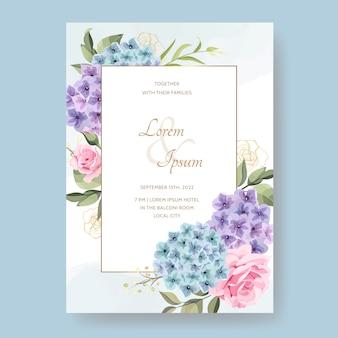 花とエレガントな結婚式の招待カード