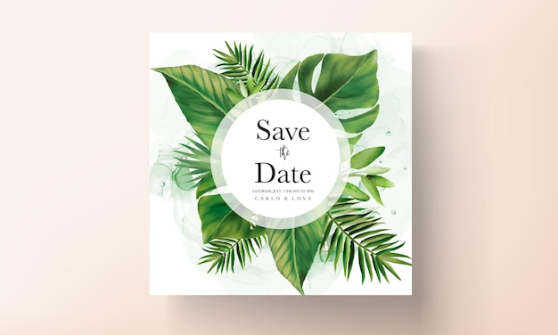 Elegant wedding invitation card with green tropical leaves watercolor