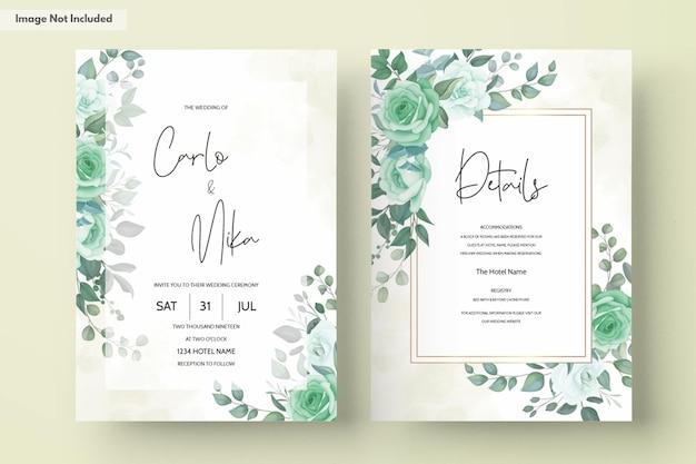 녹지 꽃과 우아한 결혼식 초대 카드