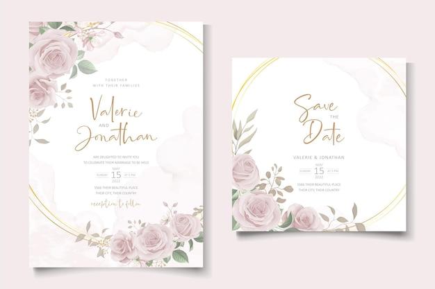 手描きの柔らかい花と葉のエレガントな結婚式の招待カード