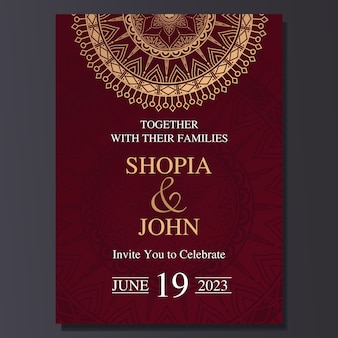 Elegant wedding invitation card with mandala ornament.